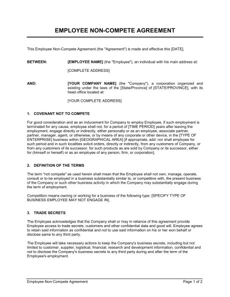 Employee Non Compete Agreement Template Sle Form Biztree Com Non Compete Agreement Template Nj