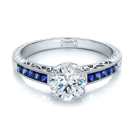 Diamond and Blue Sapphire Engagement Ring #100389