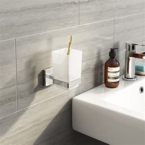 Modern Square Bathroom Accessories Modern Toothbrush Holder Wall Mounted Tumbler Square
