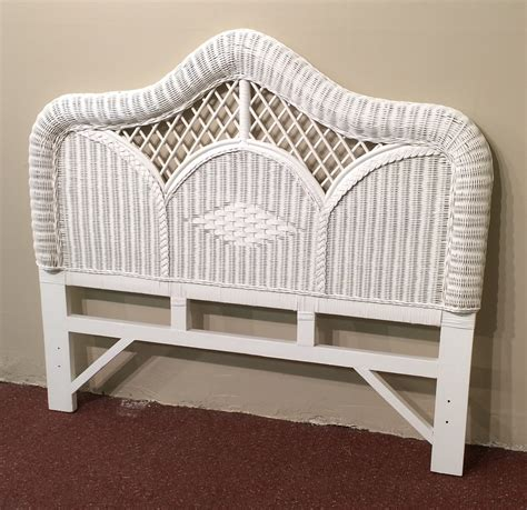 White Wicker Full Size Headboard Regency