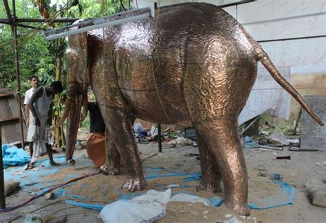 Metal Elephant Garden Ornament by Sculpture Elephant Big Size Indian Copper Outside