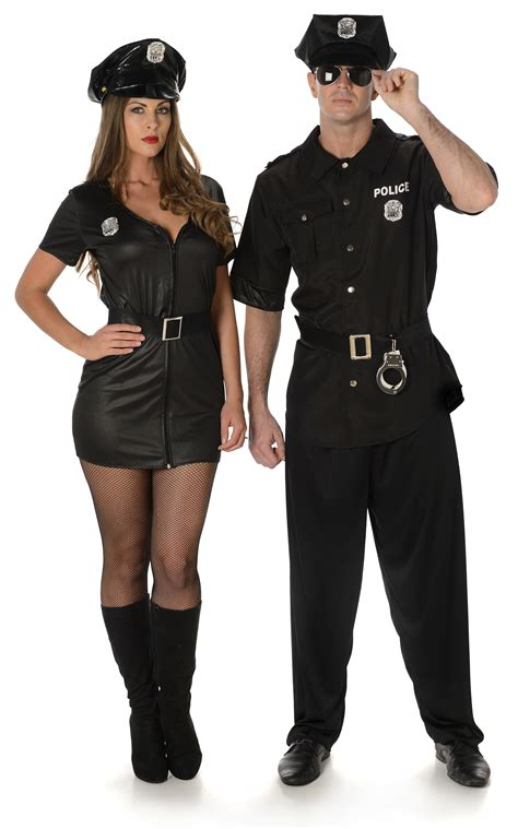 Hh 920592couple Costume Black officer adults fancy dress american cop nypd womens mens costume ebay