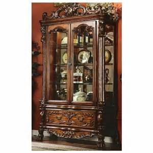 Cherry Wood Curio Cabinet Dresden Cherry Oak Finish Wood Curio Cabinet With Glass