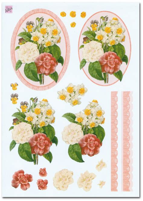 Decoupage Sets - 3d decoupage set flower floral theme 4 sheets 163 1 99