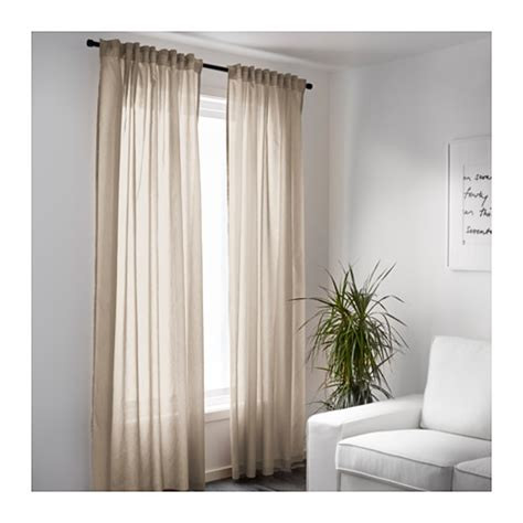 Vivan Curtains 1 Pair Beige 145x300 Cm Ikea