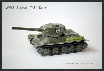 Paper Craft Square - wwii soviet medium tank t 34 free paper model