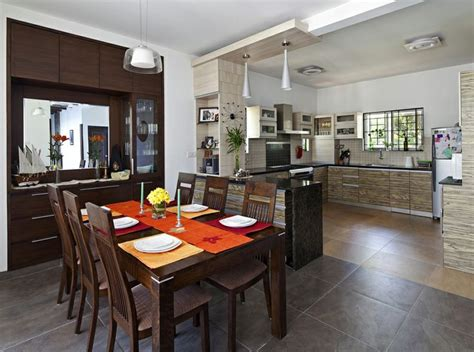 kitchen and dining interior design dining area cum open kitchen with wooden furniture