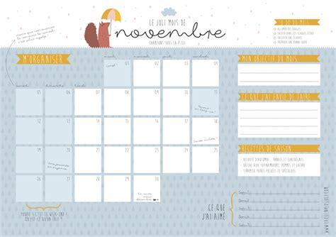 Calendrier De Novembre Calendrier Du Mois De Novembre 224 Imprimer La Vie En Plus