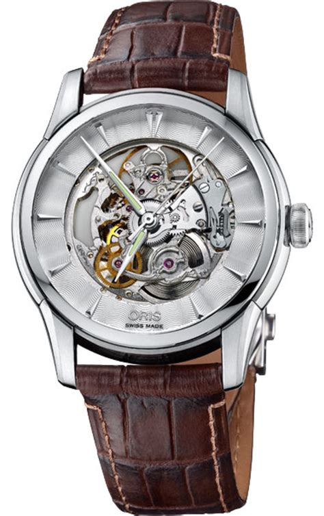 Oris Artelier Skeleton 73476704051ls oris artelier skeleton mens automatic