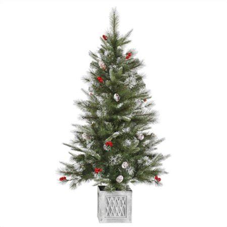 northlight 4 foot berrywood pine tree northlight 4 ft pre lit frosted pine cone and berry potted artificial tree clear