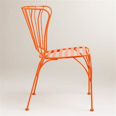 world market metal chairs koi orange cadiz metal chairs set of 2 world market