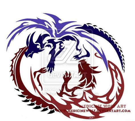 twin dragon tattoo designs design tattoos ideas