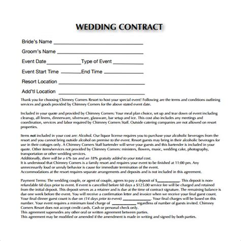 Wedding Planner Contract by Wedding Contract Template 19 Free Documents In