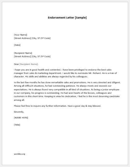 endorsement letter template endorsement letter template sle letter of