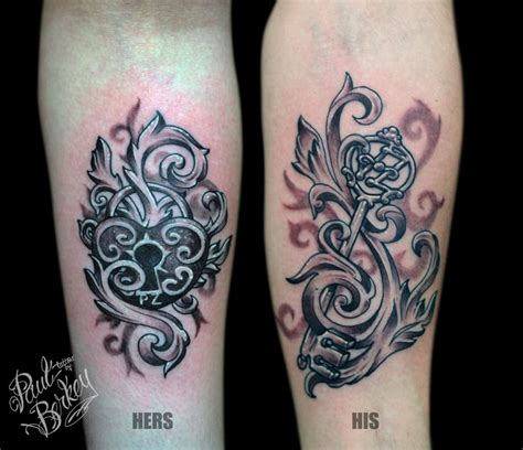 his n hers tattoos his and hers locket and key tattoos by paulberkey