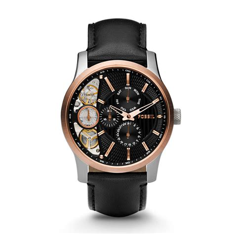 fossil cb5 leather black mechanical twist black leather fossil