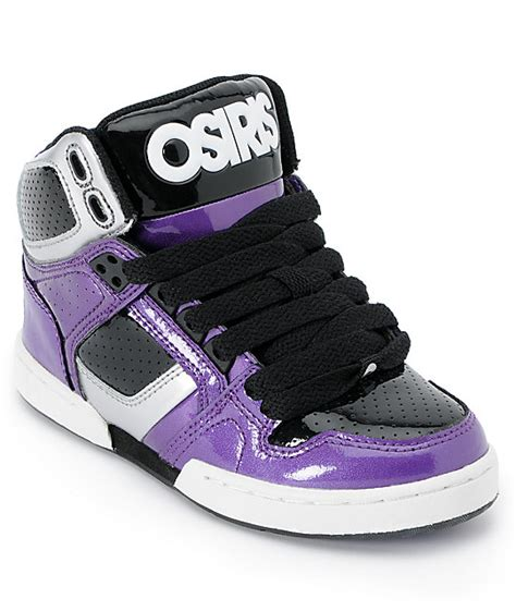 osiris shoes boys osiris nyc 83 purple silver black skate shoes zumiez