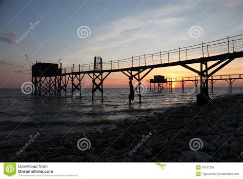 pier in french pier and cabins for fishing stock photo image 43157205
