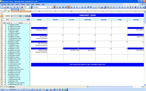 excel template monthly calendar event planning schedule template monthly event calendar