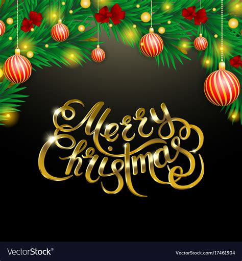 golden text  black background merry christmas vector image