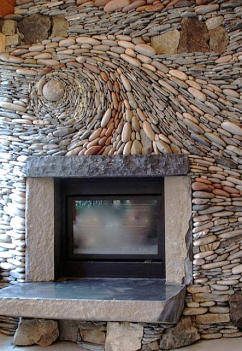 Pebble Tile Fireplace by River Rock Fireplace Nifty Homestead