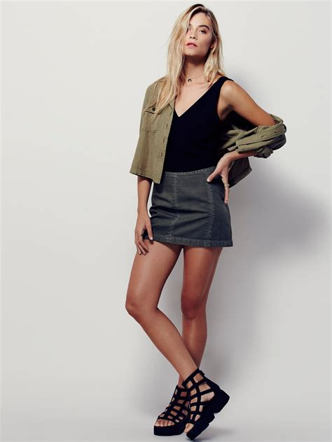 Mini Skirt zip to it denim mini skirt at free clothing boutique