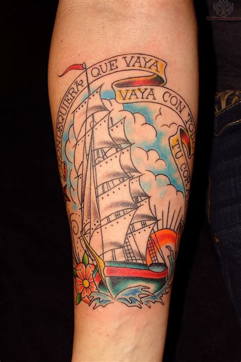 joey ship tattoo on arm for men tattoomagz