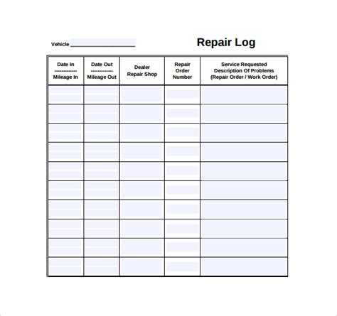 repair log template 9 download free documents in pdf excel