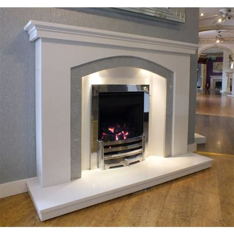 dovetail arch white grey marble fireplace with lights