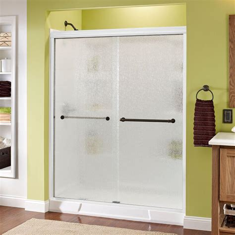 Delta Shower Door Delta Phoebe 60 In X 70 In Semi Framed Sliding Shower Door In White With Glass And Bronze