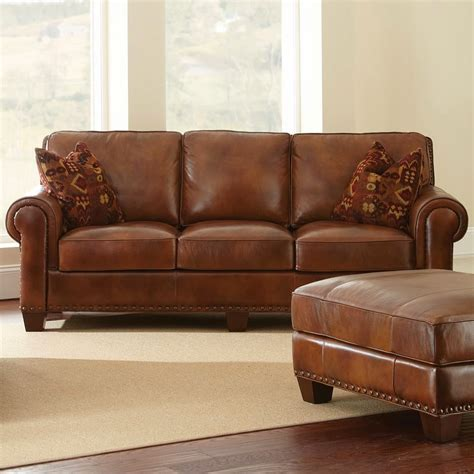 Sofa Leather Brown Brown Leather Light Brown Leather