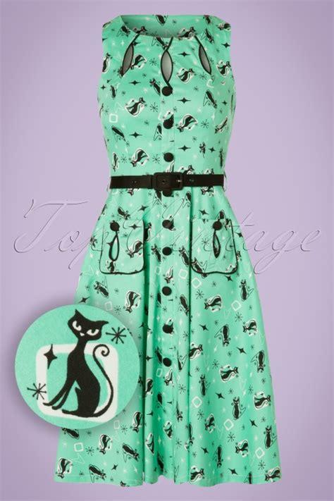 mint green swing dress 50s kitty cats swing dress in mint green