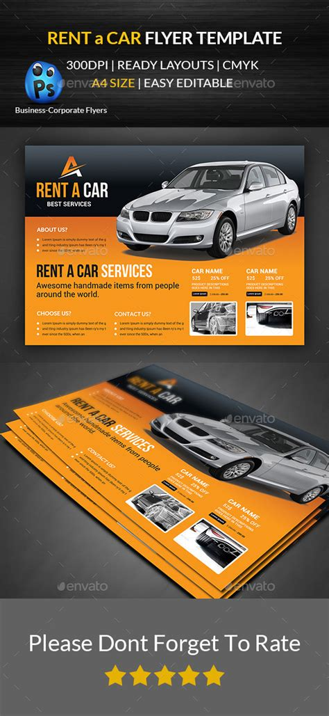 Rent A Car Flyer Template By Afjamaal Graphicriver Sublet Advertisement Template