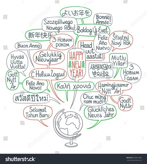 new year greetings words in cantonese happy new year around the world globe with comic bubbles