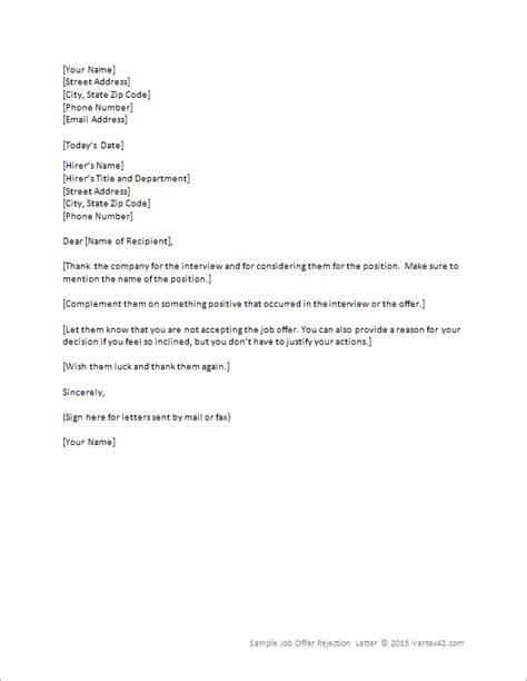 offer rejection letter template for word