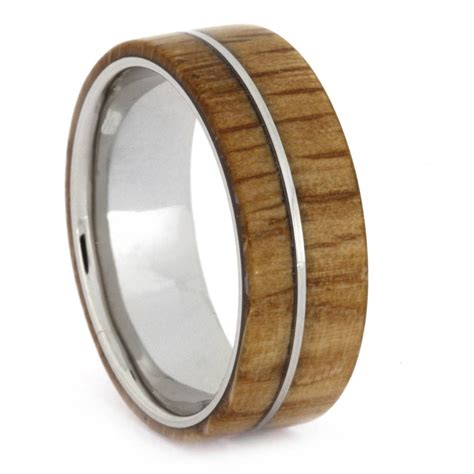 wedding bands wood wood wedding band oak wood in titanium mens wedding band