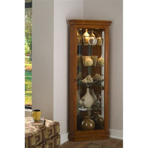 Narrow Dining Room Pulaski Golden Oak Mirrored Corner Curio In Brown 20206