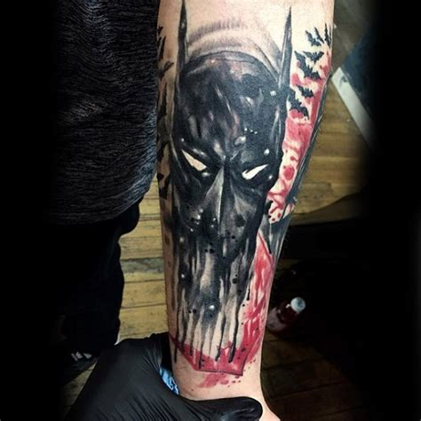 batman elbow tattoo abstract style colored forearm tattoo of mystical batman