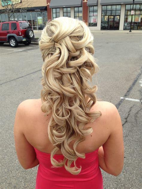 prom hairstyles down curly half up half down half up half down espada