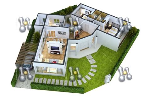 house design plans 3d 4 bedrooms simple house plan with 3 bedrooms 3d simple house plan
