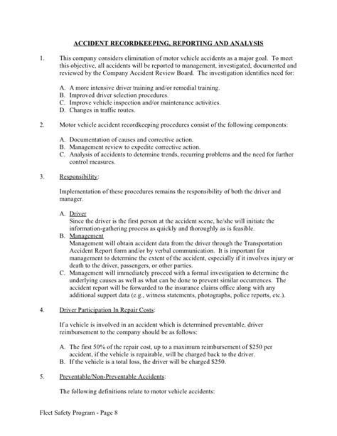 company driving policy template sle fleet safety program