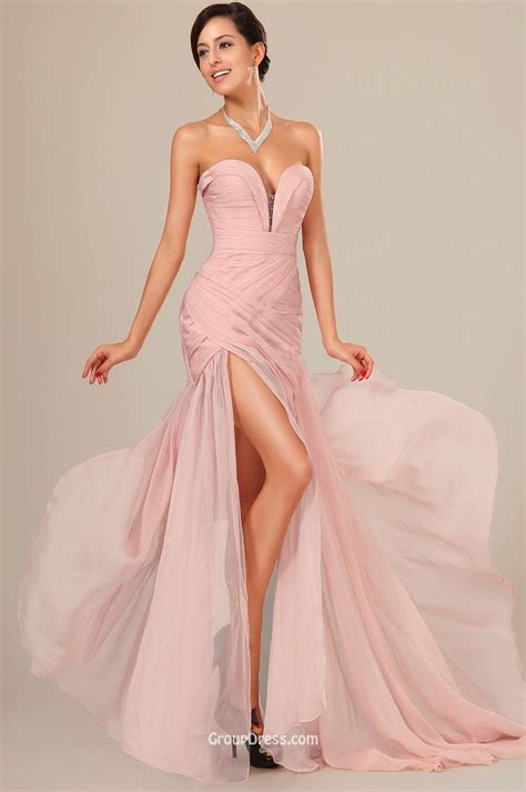 pink sweetheart strapless slit long prom dress groupdress com