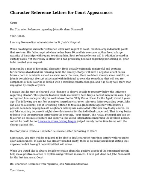 Character Letter To A Judge Sle character reference letters for court appearances sle 28