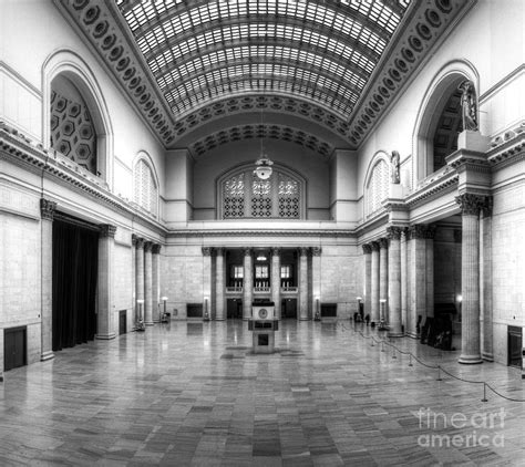 union station in black and white photograph by twenty two