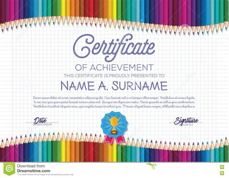 colorful certificate template certificate template with colorful pencil frame for