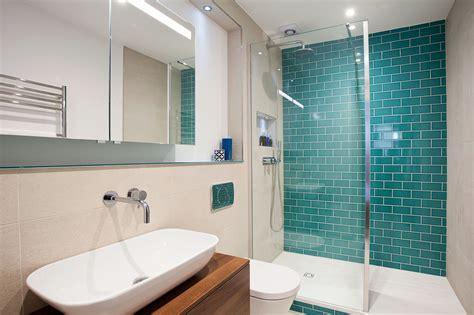 ensuite large shower featuring monceau teal crackle tiles