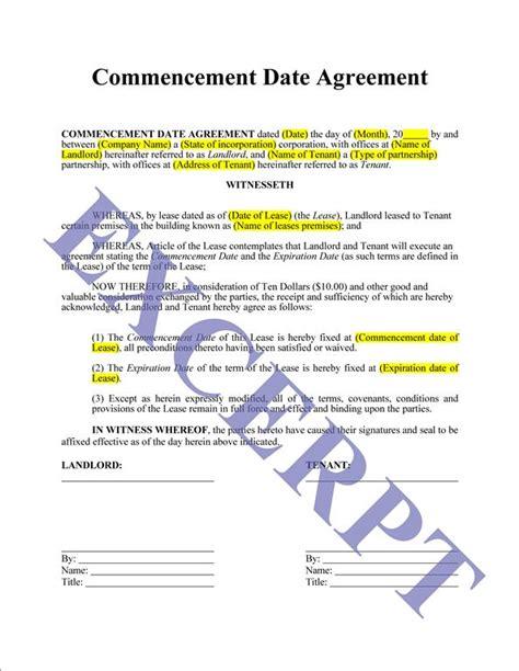 Rent Commencement Letter sale agreement form images