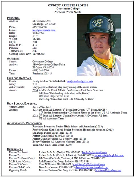 student athlete profile template grossmont college nico maida student athlete