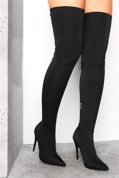 black lycra thigh high boots boots shoes lasula