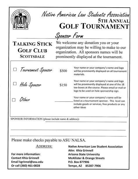 Golf Tournament Sponsorship Form Template Aboutplanning Org Golf Tournament Contract Template